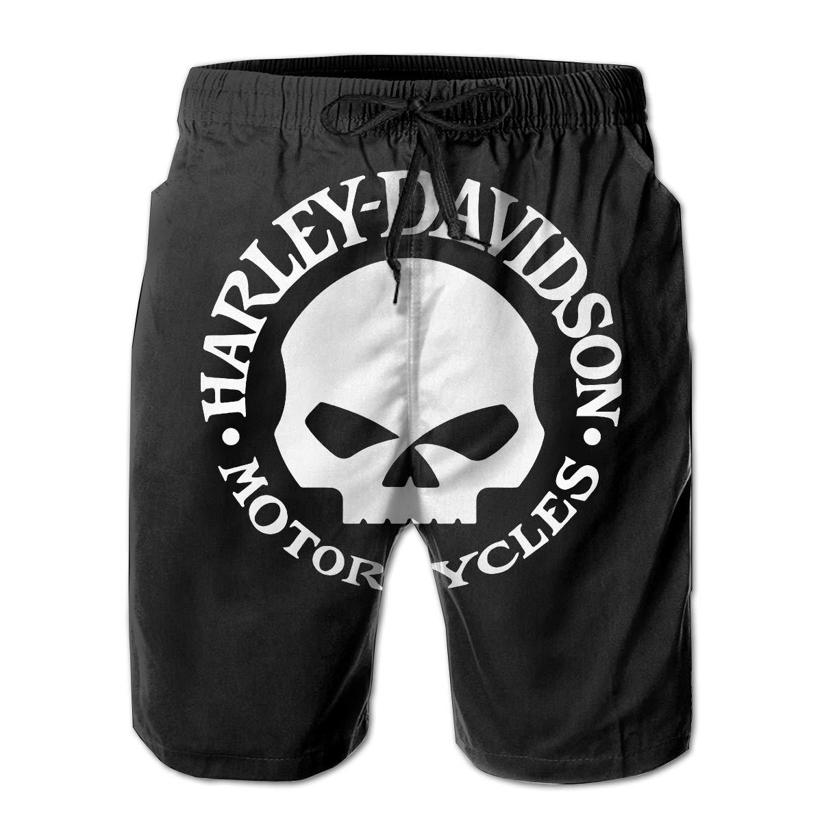 American Flag Skull Military Man Summer Casual Shorts,Beach Shorts Swim Trunks