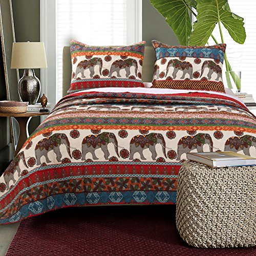 3 Piece Vivid Bohemian Motif Reversible Quilt Set King Size, Bold Horizontal Stripes Themed Bedding, Eye Catching Boho Style, Animal Lovers Design, Printed Caravan Elephants View Bedroom, Red, Grey by SE