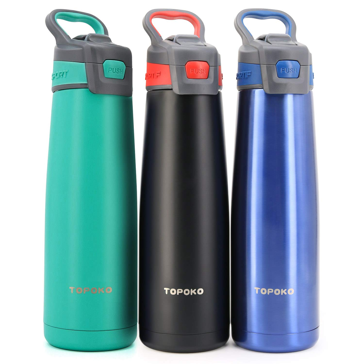 Auto Flip Stainless Steel Bottle Double Wall Water Bottle, Vacuum Insulated Stainless Steel Bottle, Sweat Proof, Leak Proof, Wide Mouth, Vacuum Sealed & Insulated, With Carrying Handle-25 OZ -Mint