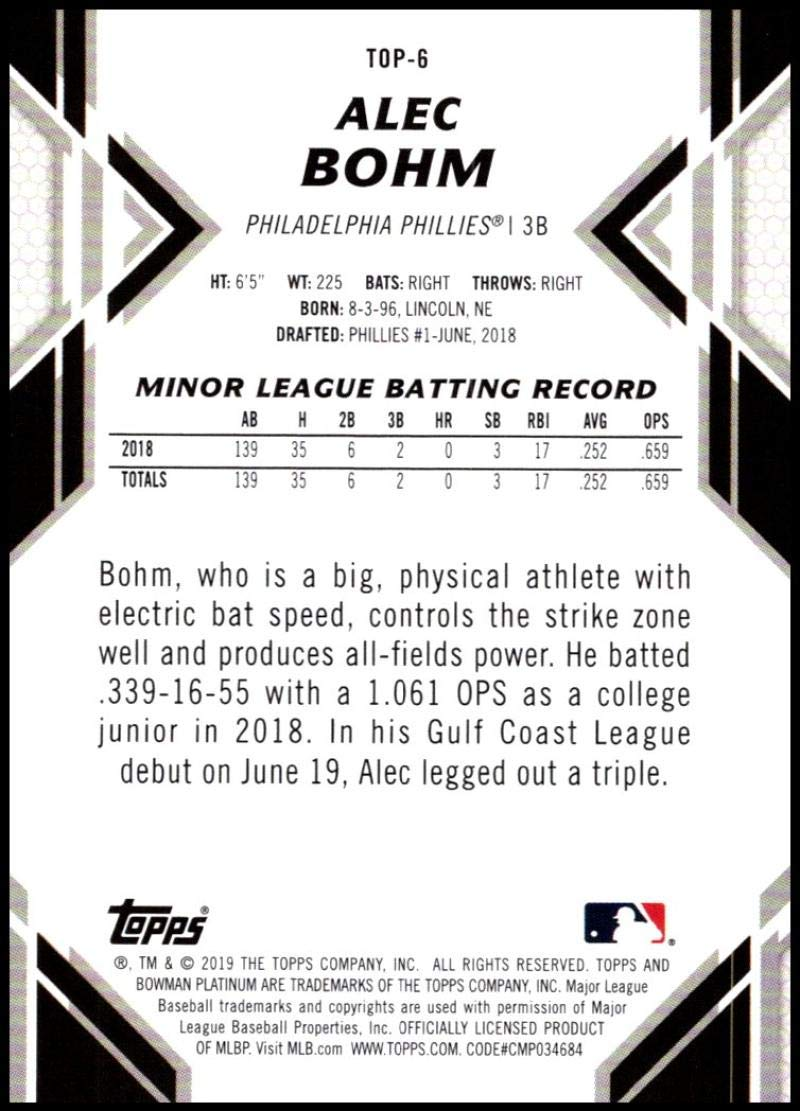 2019 Bowman Platinum Top Prospects Baseball #TOP-6 Alec Bohm Philadelphia Phillies Official Retail Exclusive Trading Card From Topps