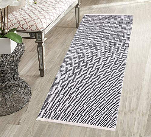 - HEBE Cotton Area Rug Runner 2'x4.2' Machine Washable Diamond Reversible Indoor Area Rugs/Mat, Hand Woven Rag Rug Entryway Throw Mat for Kitchen Laundry Living Room