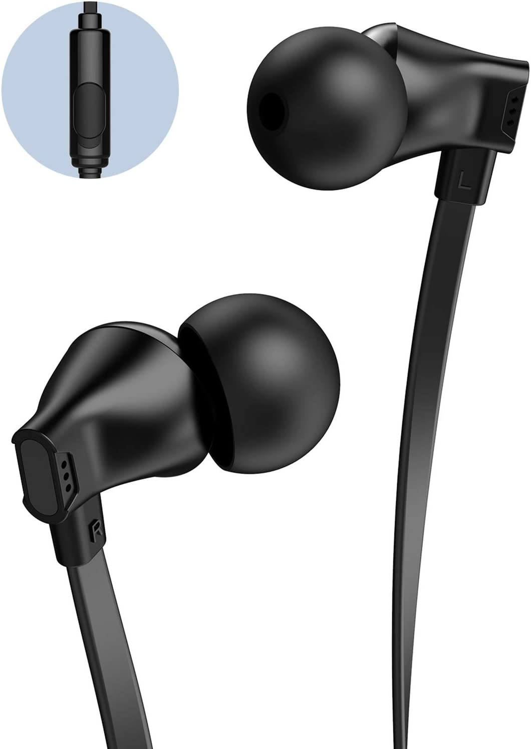 Earbuds with Microphone, Vogek Earphones Noise Isolating, in-Ear Headphones with HiFi Stereo & Powerful Bass 3.5mm Interface Compatible with iPhone and Android Smartphones, iPod, iPad, MP3 Players