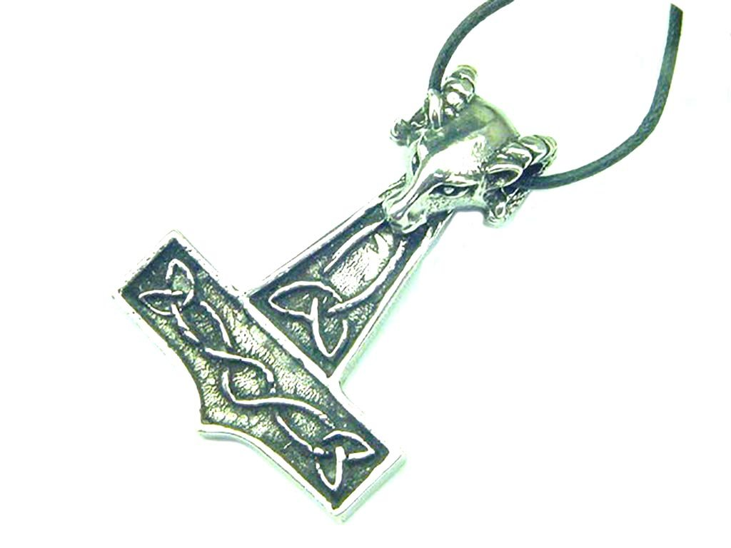 Thor's Hammer Rams Head Necklace Pewter Pendant Viking Norse Mjollnir Pagan Wicca ..... Key Chain Charm