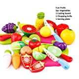 PLUSPOINT Plastic Realistic Sliceable Fruits and Vegetables 2 Parts Cutting Play Set (Multicolour) , Pack of 13