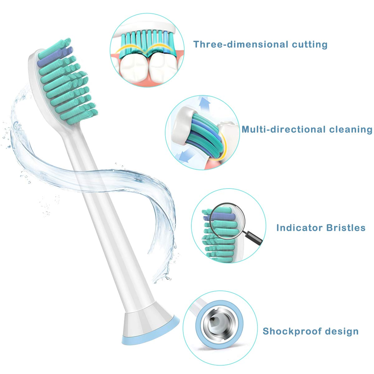 OTISA-Replacement Toothbrush Heads,10 Packs Toothbrush Head Compatible with Philips Sonicare DiamondClean,FlexCare,HealthyWhite,EasyClean,Essence+(Plus),More Toothbrush Heads for Brush Handles