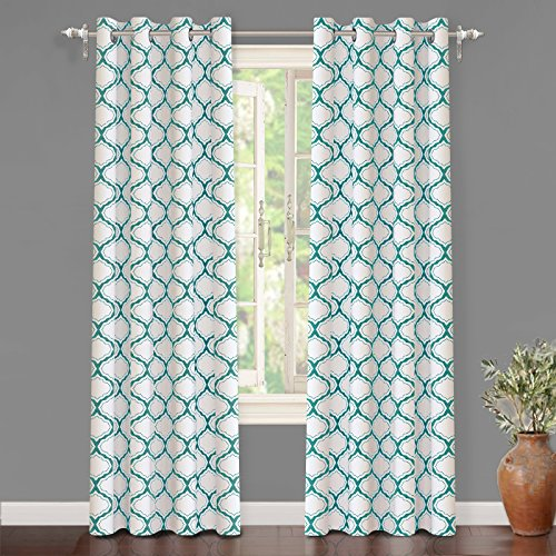 "Aqua Curtain - DriftAway Geometric Trellis Room Darkening/Thermal Insulated Grommet Unlined Window Curtains, Set of Two Panels, each 52""x84"" (Aqua)"