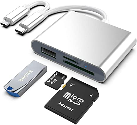 Type C /& Micro USB /& USB OTG SD TF Memory Card Reader Compatible with PC Laptop Mobile Phone