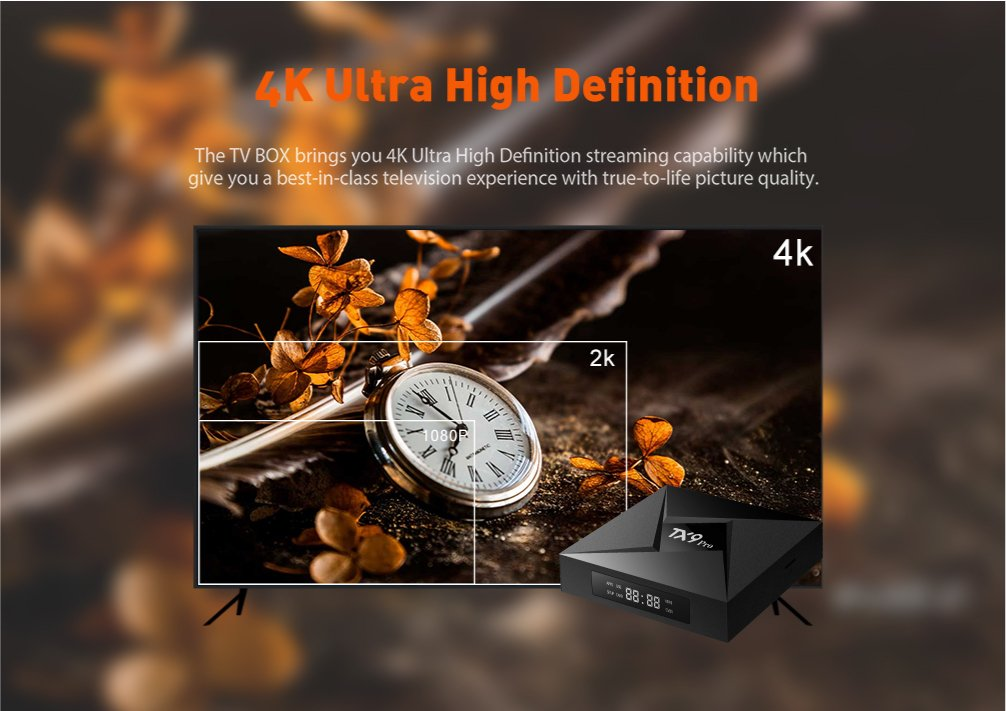 Real 4K Playing /& Updated with Wireless Mini Keyboard GiMiBOX TX9 Pro Android 7.1.2 TV Box with 3GB DDR3 RAM 32GB ROM Bluetooth Amlogic S912 Octa Core A53 Processor 64 Bits Bluetooth