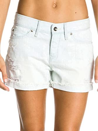 13cd45b8ca2 Amazon.com: ROXY Tomboy Bleach Wash Frayed Denim Shorts, 26 Inch ...