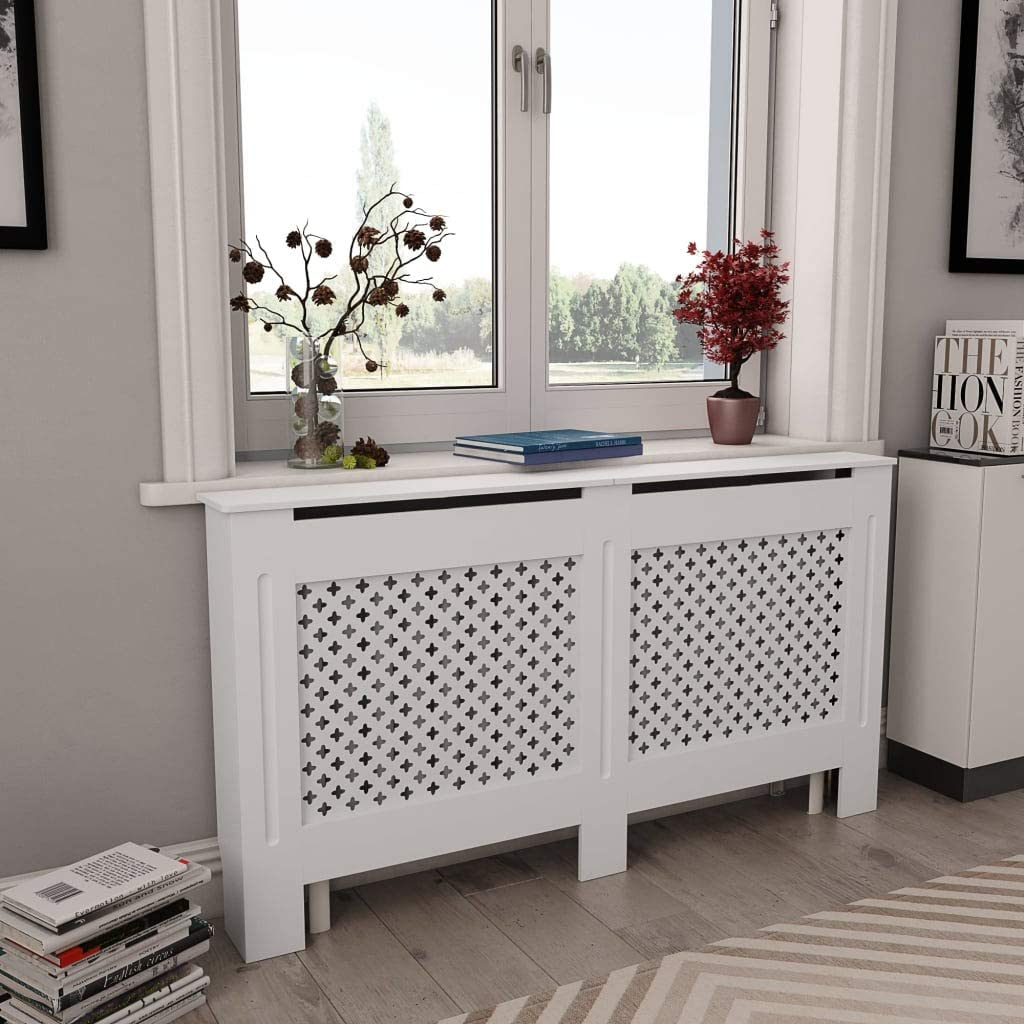 INLIFE Radiator Cover,MDF Heating Cover Cabinet with Matt Finished Grid Design and Smooth Top,Heating Cabinet for Home and Office 59.8