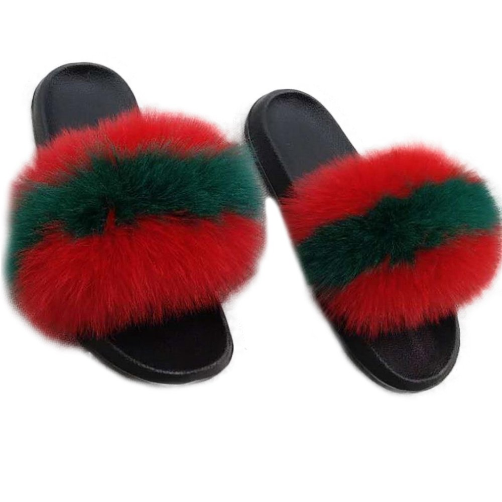 Manka Vesa Women Real Fox Fur Feather Vegan Leather Open Toe Single Strap Slip On Sandals Red Green
