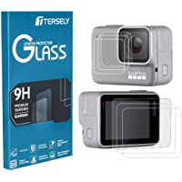 Tersely Screen Protector for GoPro Hero 7 (2018) White/Silver, (3 Pack) Premium 9H Hardness Tempered Glass Screen Protector Front + Back Glass Lens Protector Film for Go Pro Hero7 White/Silver