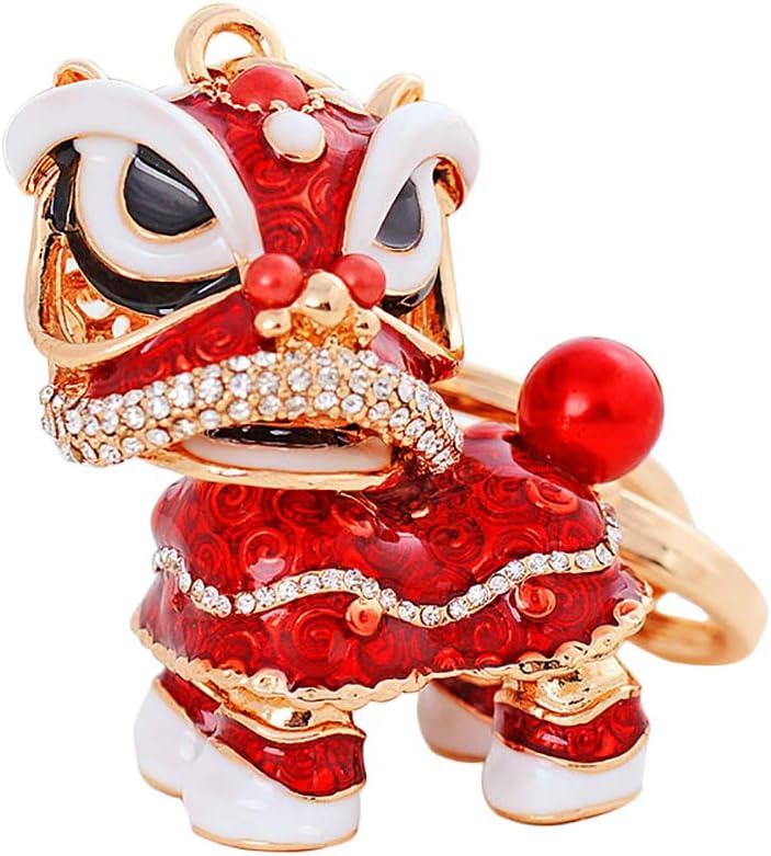 Orange Hosaire/® 1pc Porte-Cl/és De Style Ethnique Chinois Classique De La Mode Pendentif Mignon De Sac De Danse du Lion Chinois Porte-Cl/és D/élicat en Forme De Lion Incrust/é De Diamants Beau Cadeau
