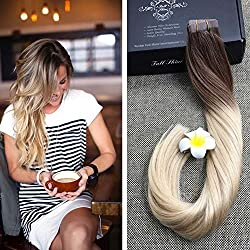 "Full Shine 14"" Balayage Ombre Tape in Hair Extensions Color 6B Fading to 613 Full Head Tape Hair Extensions Human Hair Remy Seamless Hair Extensions 50g 20Pcs Per Package"