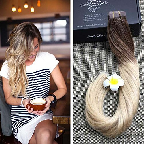 """Beauty : Fshine 20"""" Tape in Hair Extensions Human Hair Balayage Ombre Tape in Hair Extensions Pastel Hair Dye Color #6 Fading to #613 Blonde Tape Hair Extentions Ombre 50g 20Pcs Per Package"""