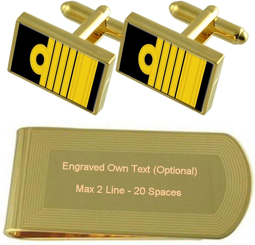 Royal Navy Insignia Rank Admiral of the Fleet Gold-tone Cufflinks Money Clip Engraved Gift Set