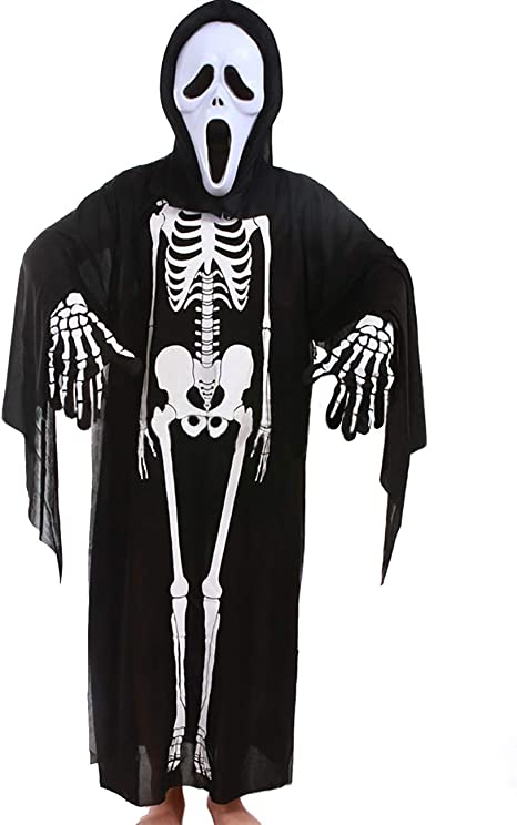 ShiyiUP Conjuntos Disfraces de Esqueleto Máscara Guantes para ...