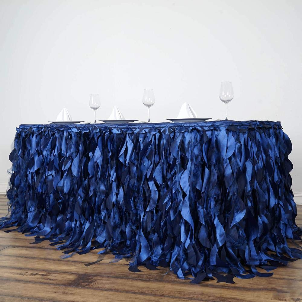 Tableclothsfactory 14ft Enchanting Curly Willow Taffeta Table Skirt for Kitchen Dining Catering Wedding Birthday Party Events - Navy by Tableclothsfactory