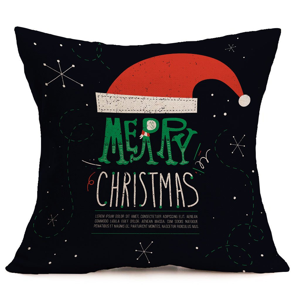 Merry Christmas Pgojuni Linen Pillowcase Decoration Accent Throw Pillow Cover Cushion Cover for Couch/Sofa 1pc 45X45 cm (A)