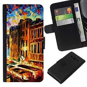 KLONGSHOP // Tirón de la caja Cartera de cuero con ranuras para tarjetas - Pintura Impresionismo Casas Canal de Venecia - Samsung Galaxy A3 //