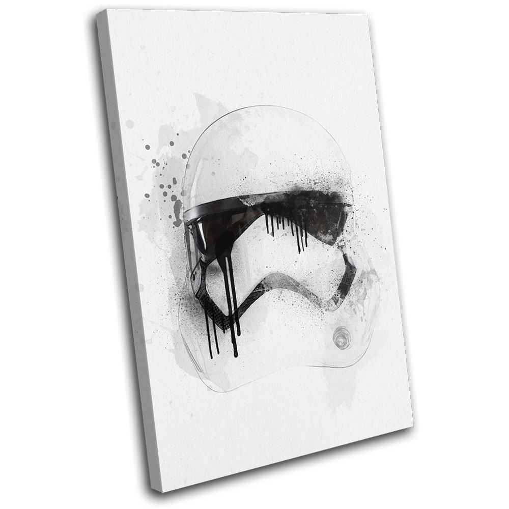 Bold Bloc Design - Star Wars Abstract Trooper Abstract Wars Movie Greats 75x50cm SINGLE Leinwand Kunstdruck Box gerahmte Bild Wand hangen - handgefertigt In Grossbritannien - gerahmt und bereit zum Aufhangen - Canvas Art Print d09f80