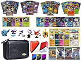 Totem World Pokemon Premium Collection 100 Cards with GX Mega EX Shining Holo 10 Rares 4 Booster Pack - 100 Sleeves - Black Card Case - Deck Box and Figure