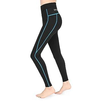 SKYSPER Femme Pantalon Sport avec Poche Haute Élasticité Haute Respirant  Leggings Yoga Pantalon Collant Taille Haute 85b20ca256a1