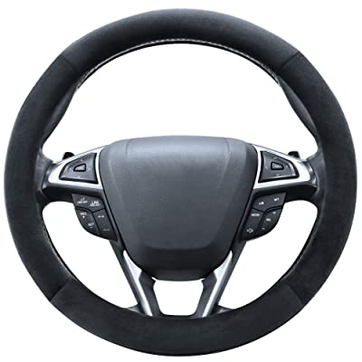 SEG Direct Plush Steering Wheel Cover Universal 15 inch Black: Automotive