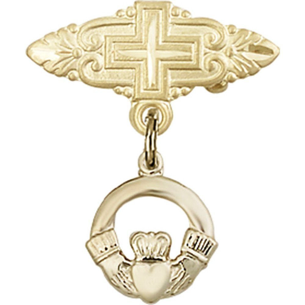 14kt Yellow Gold Baby Badge with Claddagh Charm and Badge Pin with Cross 7/8 X 3/4 inches by Unknown