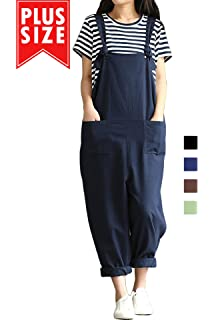 c96a3fccf3 Women Plus Size Overalls Cotton Wide Leg Jumpsuits Vintage Baggy Pants  Casual Rompers