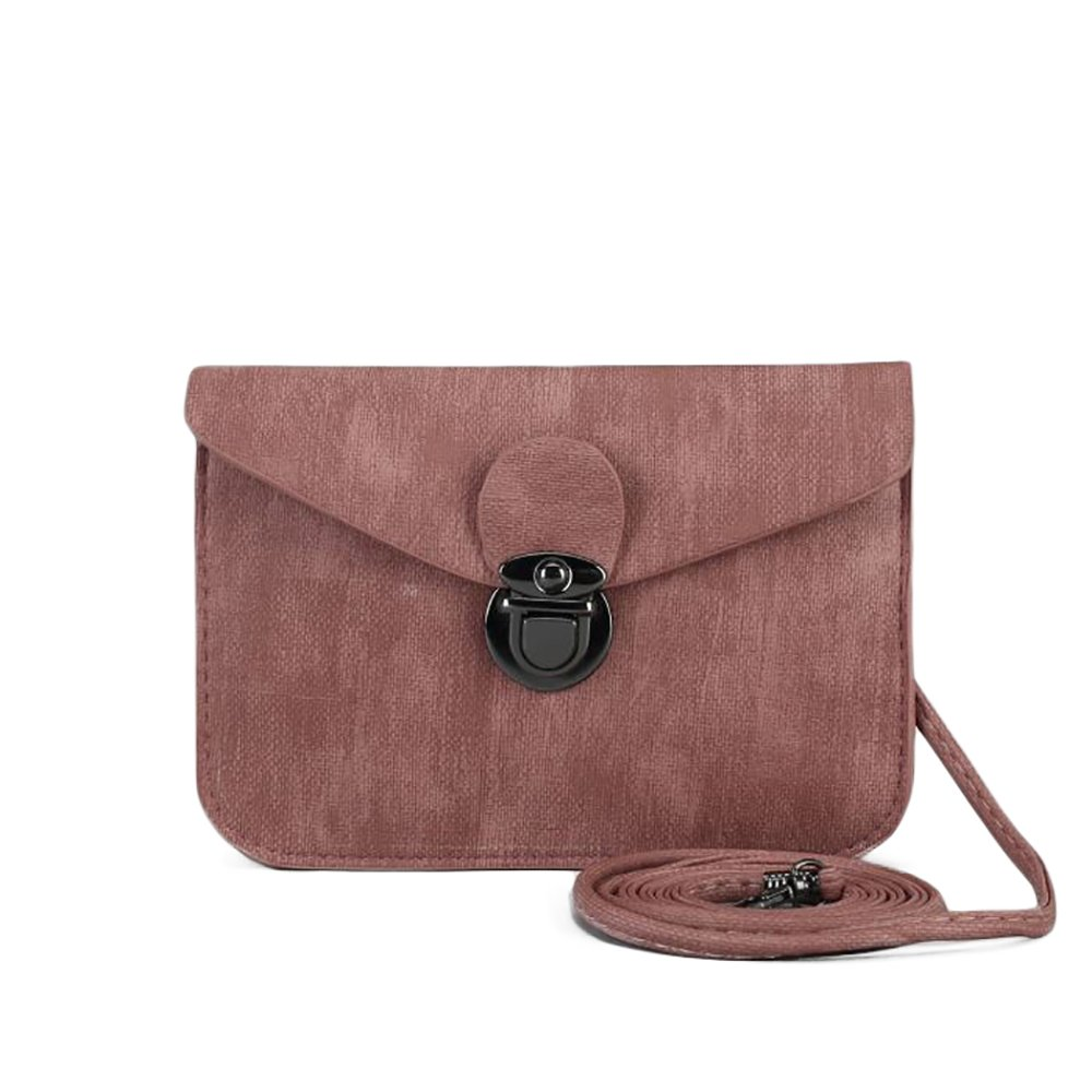 Cross Body Cute Vintage Shabby Ladies Shoulder Bag Nude Pink Vegan Faux Leather Bag with Tuck lock Woman Purse Handbag Adjustable Straps Clutch (Powder)
