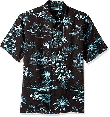 bac9588c Cubavera Men's Short Sleeve 100% Rayon Point-Collar Tropical Floral Print  Shirt, Teal with Jet Black, Large