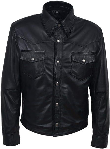 Boots and Leather Mann Schwarz weich echtes Lederhemd Jacke