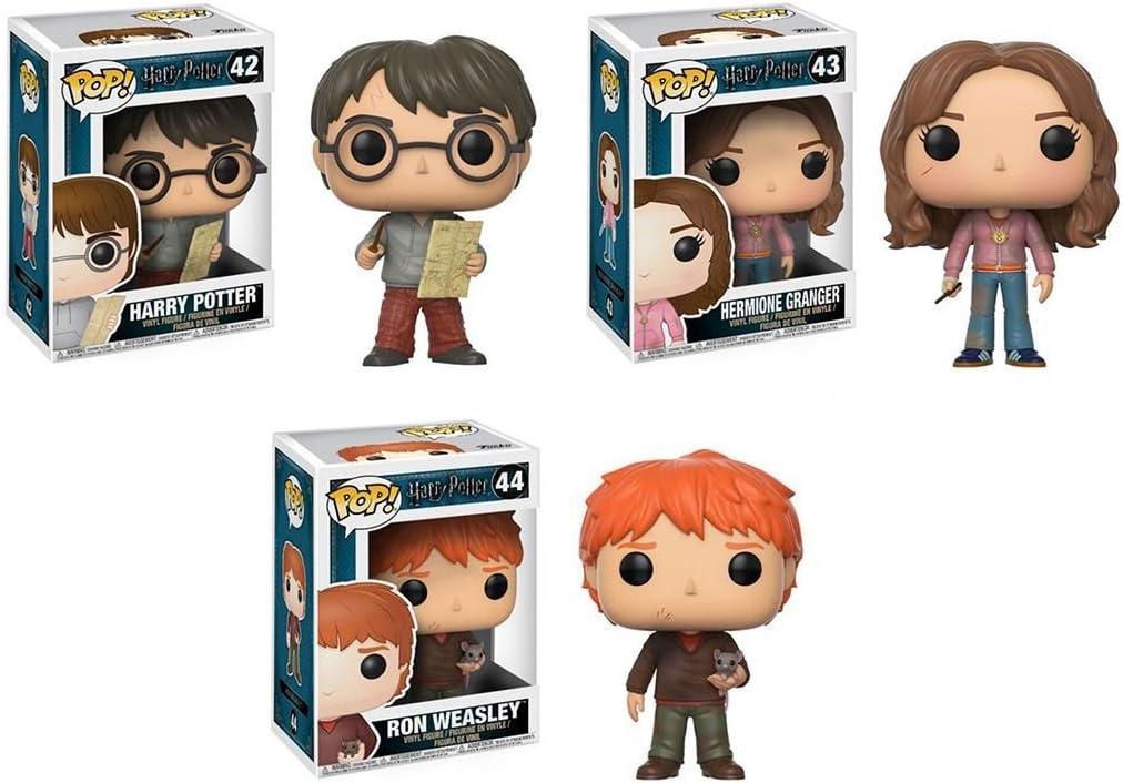 Funko POP! Harry Potter: Harry Potter w/ Marauders Map + Hermione Granger w/ Time Turner + Ron Weasley w/ Scabbers - Stylized Movie Vinyl Figure Set NEW: Amazon.es: Juguetes y juegos