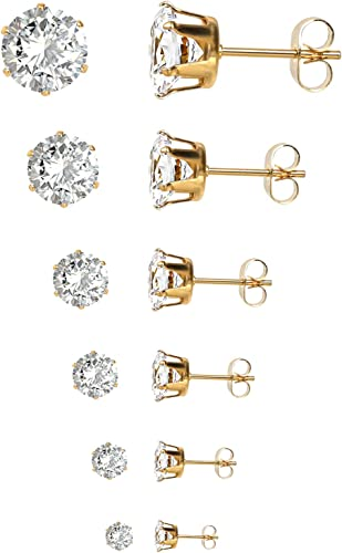 6 Pairs CZ Surgical Stainless Steel Stud Earrings Screw Back Hypoallergenic