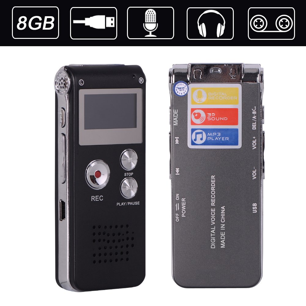 ZIKO Digital Voice Recorder, 8GB Multi-function Portable Mini 2.0 USB Port Voice Recorder Rechargeable Audio Voice Recorder Device MP3 Music Player for Interviews Meetings Lectures Class Record by ZIKO