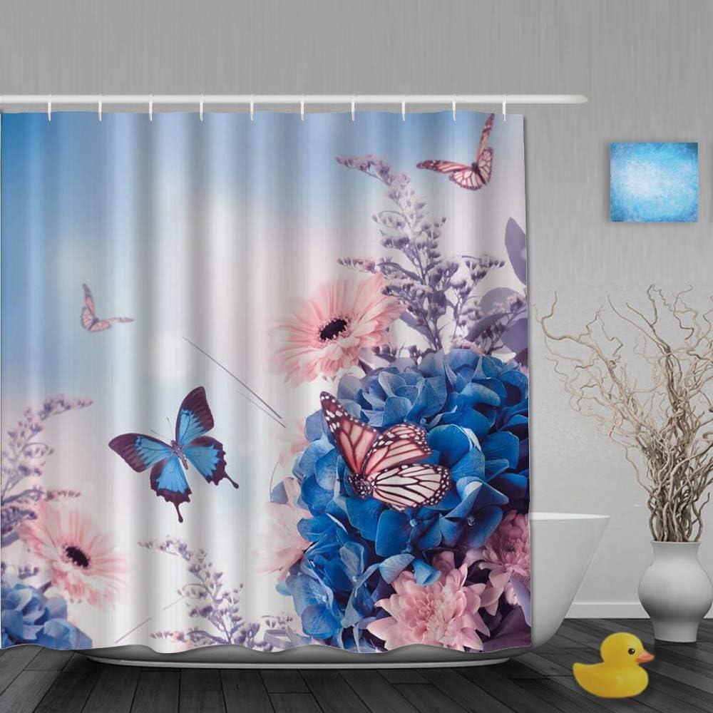 AYISTELU Cortinas de Ducha,Mariposa Azul Floral Primavera Flor Silvestre Naturaleza Plantas Arte, Cortina de Baño Material de poliéster Resistente al Agua con Ganchos 180 * 210cm