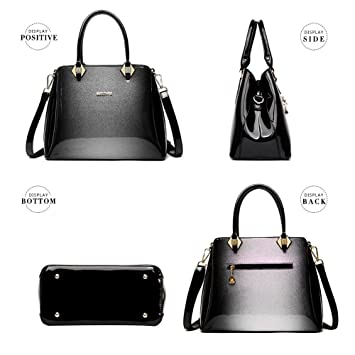 5fc005f8e327 G-AVERIL 2018 Women Bags Ladies Top Handle Bags Patent Leather Stylish  Handbags Shoulder Bags Grey  Amazon.co.uk  Luggage