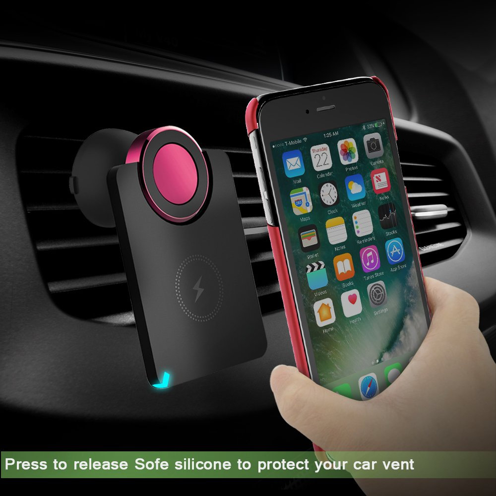 Fast Wireless Car Charger VersionTech Multi-Function 2-in-1 Magnetic Car Phone Mount Air Vent Holder /& Qi Wireless Charging Pad for iPhone 7 Plus iPhone 6 plus//6s Plus Red
