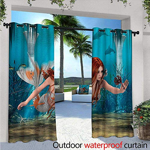 Mermaid Outdoor- Free Standing Outdoor Privacy Curtain W96 x L108 Lifelike Mermaid Holding a Sea Lily Magic Aquatic World Theme for Front Porch Covered Patio Gazebo Dock Beach Home Light Blue Burnt -
