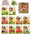 VEGETABLES SEEDS, 10 SEED PACKS, 100% CERTIFIED ORGANIC Non GMO - Vegetable Assortment- No Gardening Experience Required Popular varieties of Easy to Grow Seeds