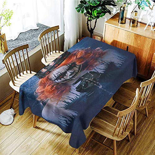XXANS Rectangular Tablecloth,Queen,Queen of Death Scary Body Art Halloween Evil Face Bizarre Make Up Zombie,Modern Minimalist,W60x84L Navy Blue Orange Black