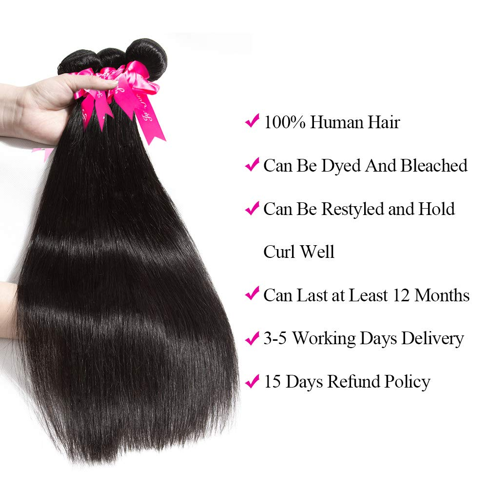 Subella Brazilian Straight Hair 3 Bundles 14 16 18inch Grade 9A Virgin Straight Human Hair Bundles Natural Black Color Hair Weave by Subella (Image #4)