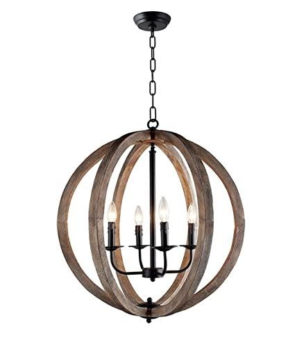 Ambiance Comfort 24 Farmhouse Pendant Light Orb Chandelier Light Wood Frame Iron Band Sphere 4 Lamps Globe Ceiling Light Fixture