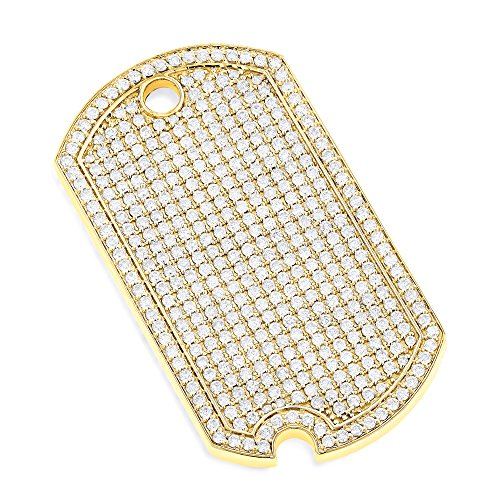 (Luxurman Iced Out 14K Unique Designer Natural Diamond Dog Tag Pendant (Yellow Gold))
