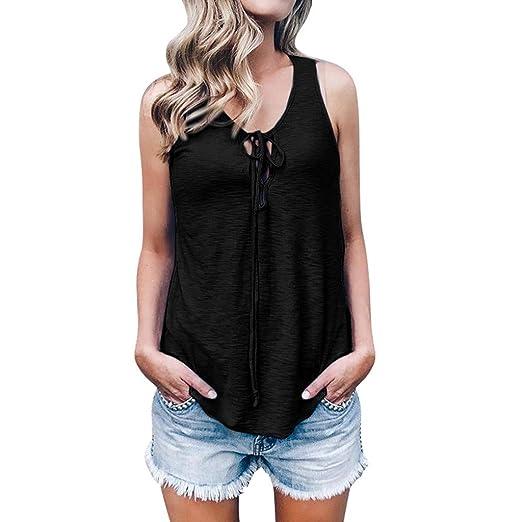 4d8c9b71d3ee54 Women Tank Top Sleeveless Criss Cross Bandage Casual Solid Color Irregular  Hem Blouse Shirt (S