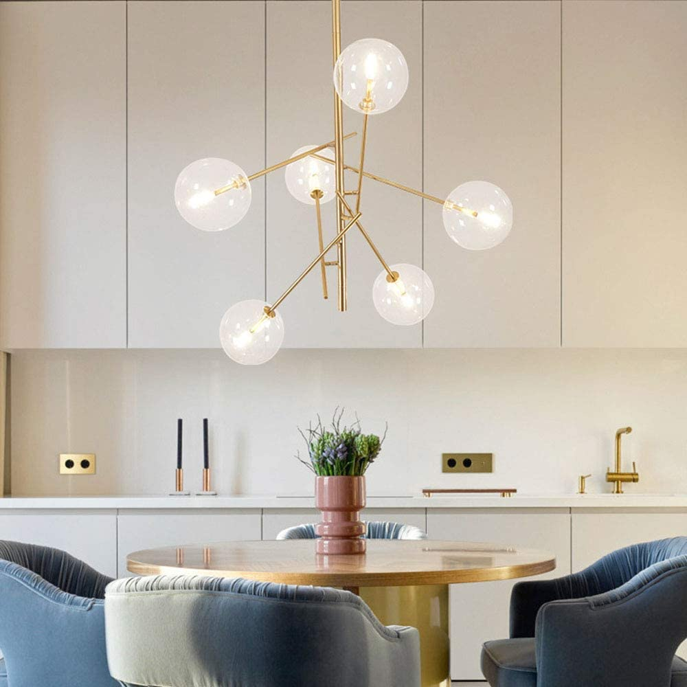 Leuchter FJH Sputnik Kronleuchter Gold Pendant Beleuchtung 6 Light Glas Lampshades Moderne Schmiedeeisen G4 Basis-Deckenleuchte forHotel
