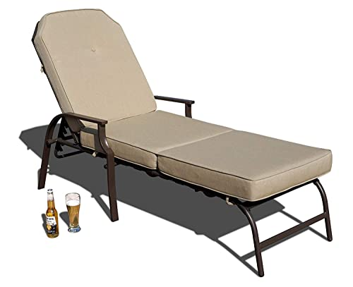 Kozyard Maya Outdoor Chaise Lounge Weather Rust Resistant Steel Chair with Polyester Fabric Cushion for Pool, Patio, Deck or Yard Beige