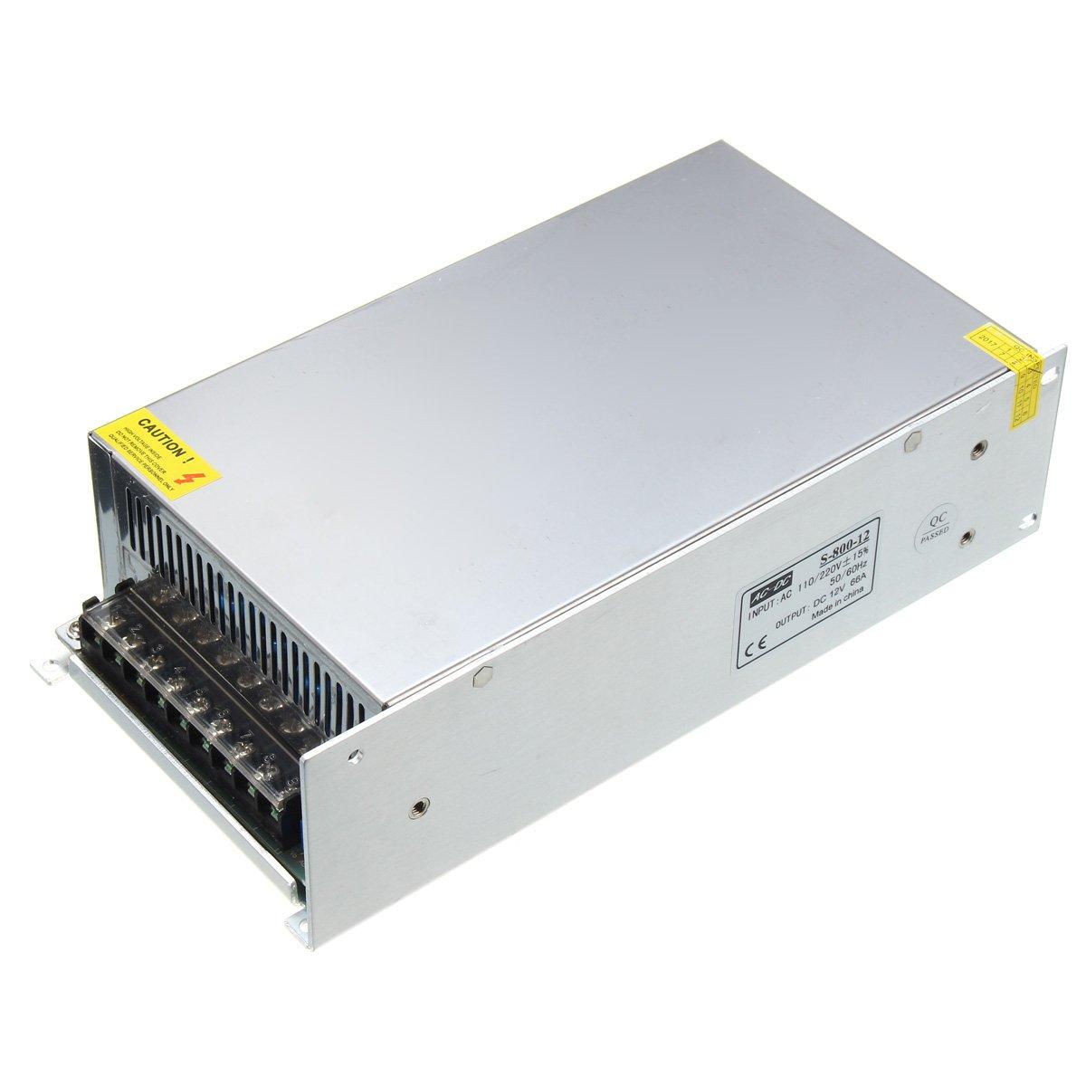 ZHENWOFC AC110V / AC220VからDC 12V 800Wトランスアダプタスイッチ電源ドライバ New B07S2Z9CD7