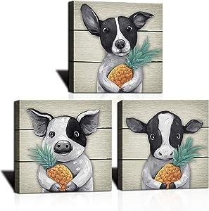 KLVOS Funny Animal Framed Art Wall Decor Yellow Pineapple on Black White Pig Dog Cow Hands 3 Piece Abstract Animal Art Prints for Kids Nursery Bathroom Room Modern Home Wall Decor 12x12inchx3 Panel